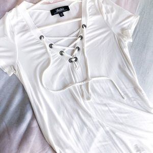 Lulu's Ivory Lace-up Top
